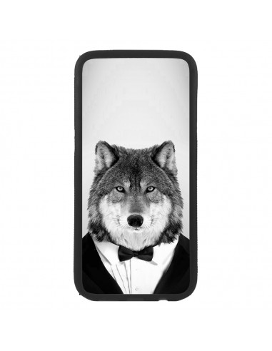 Funda para móvil animal lobo con chaqueta hipster